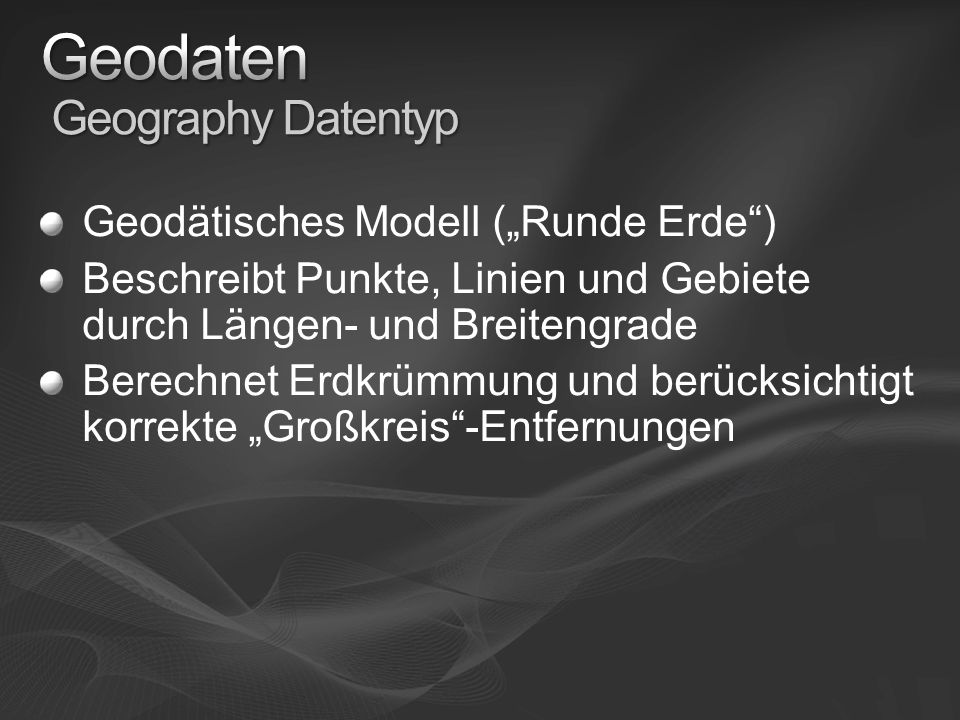 Geodaten Geography Datentyp