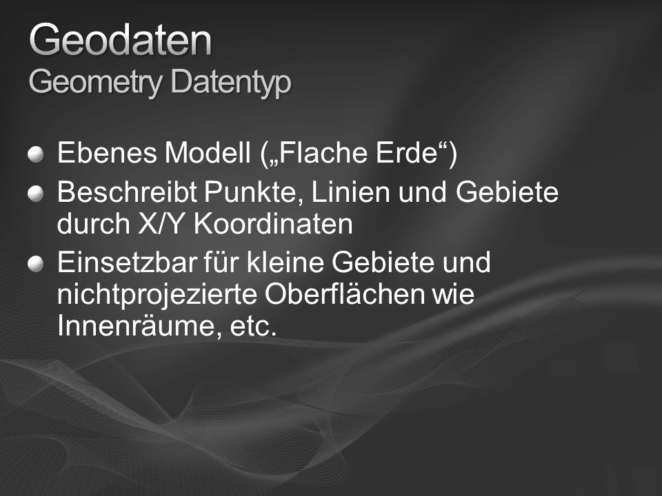Geodaten Geometry Datentyp