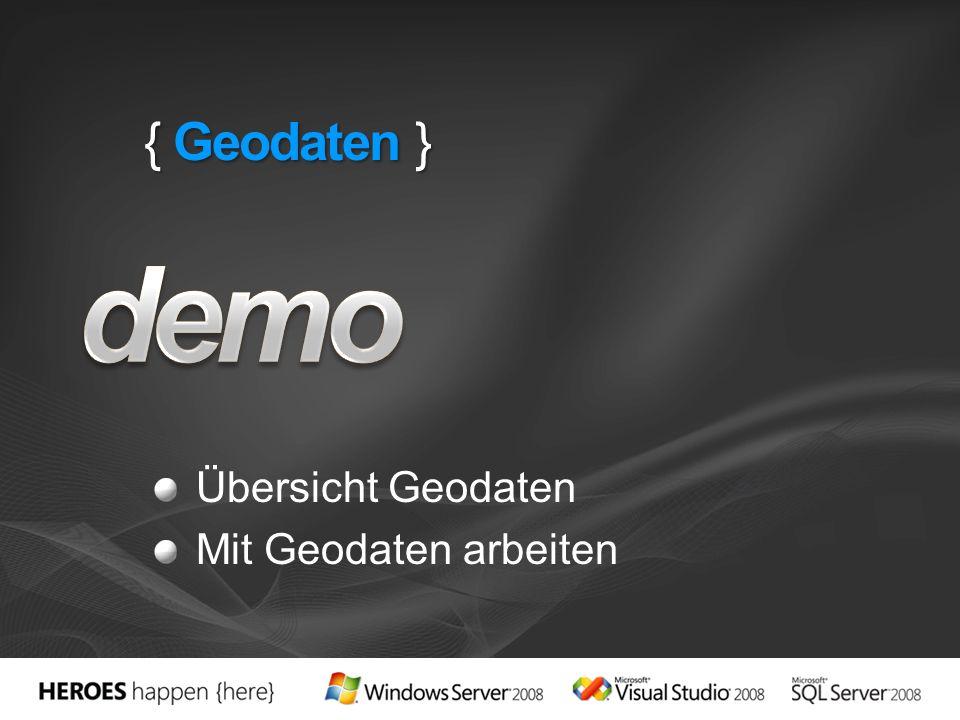 { Geodaten } demo Übersicht Geodaten Mit Geodaten arbeiten