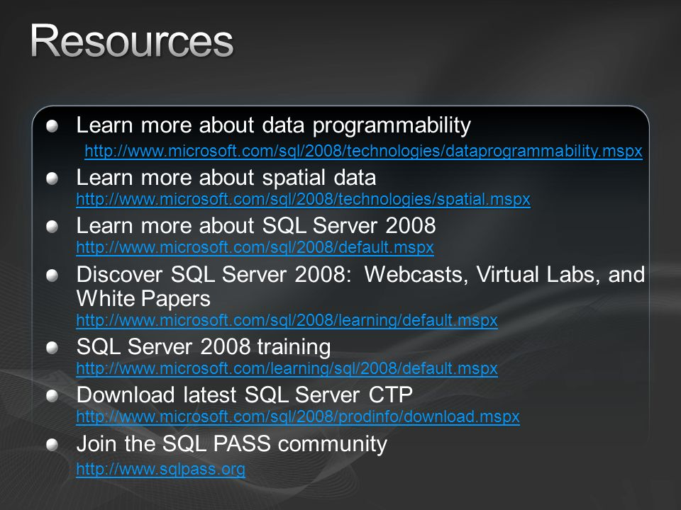 Resources Learn more about data programmability