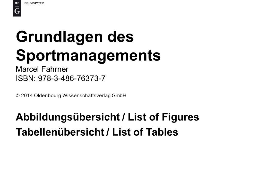 Grundlagen des Sportmanagements Abbildungsübersicht / List of Figures