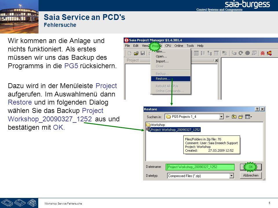 Saia Service an PCD s Fehlersuche