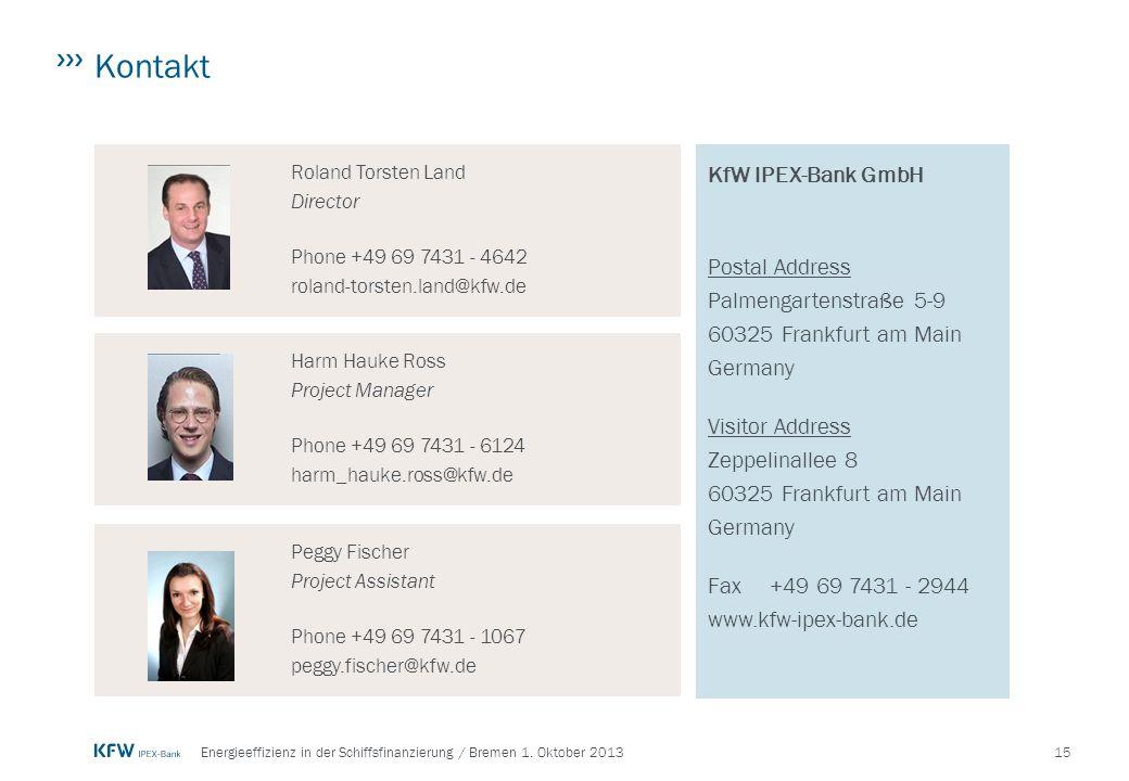 Kontakt KfW IPEX-Bank GmbH Postal Address Palmengartenstraße 5-9