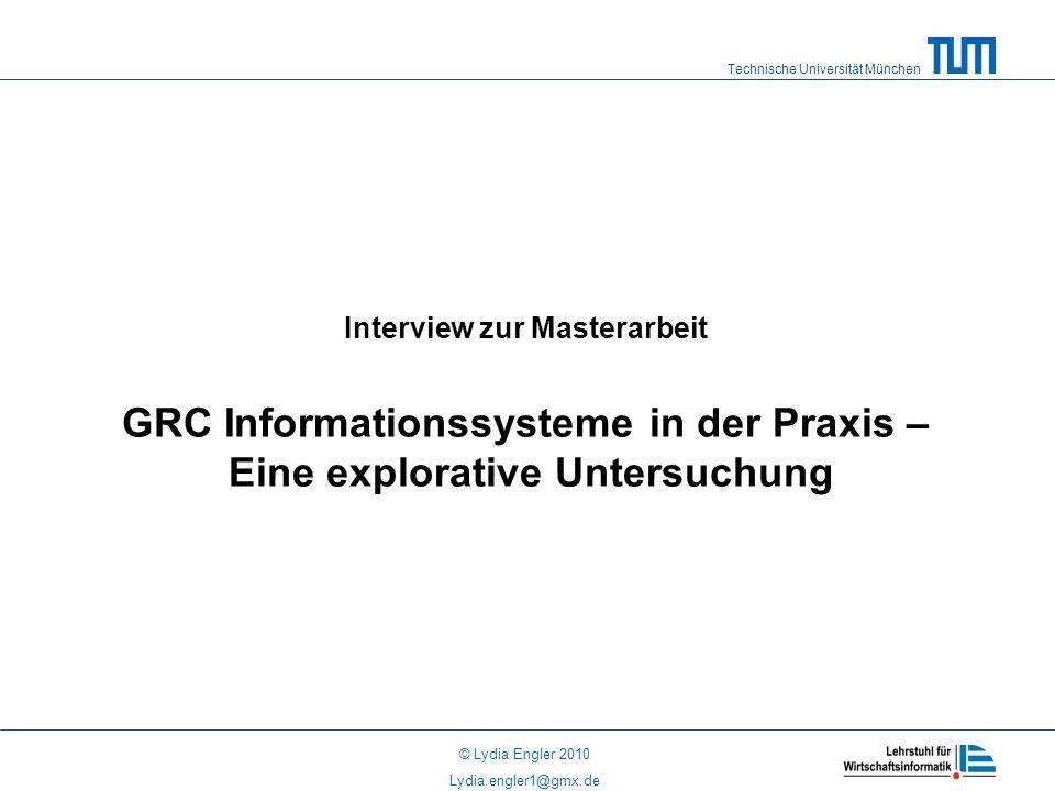 Interview zur Masterarbeit GRC Informationssysteme in der Praxis – Eine explorative Untersuchung