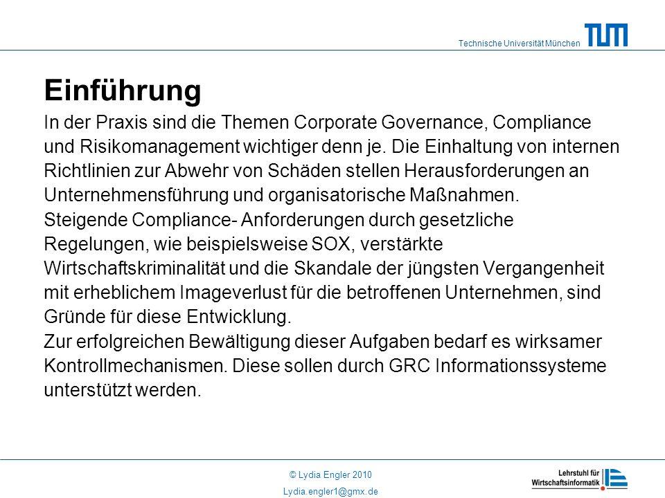 Einführung In der Praxis sind die Themen Corporate Governance, Compliance. und Risikomanagement wichtiger denn je. Die Einhaltung von internen.