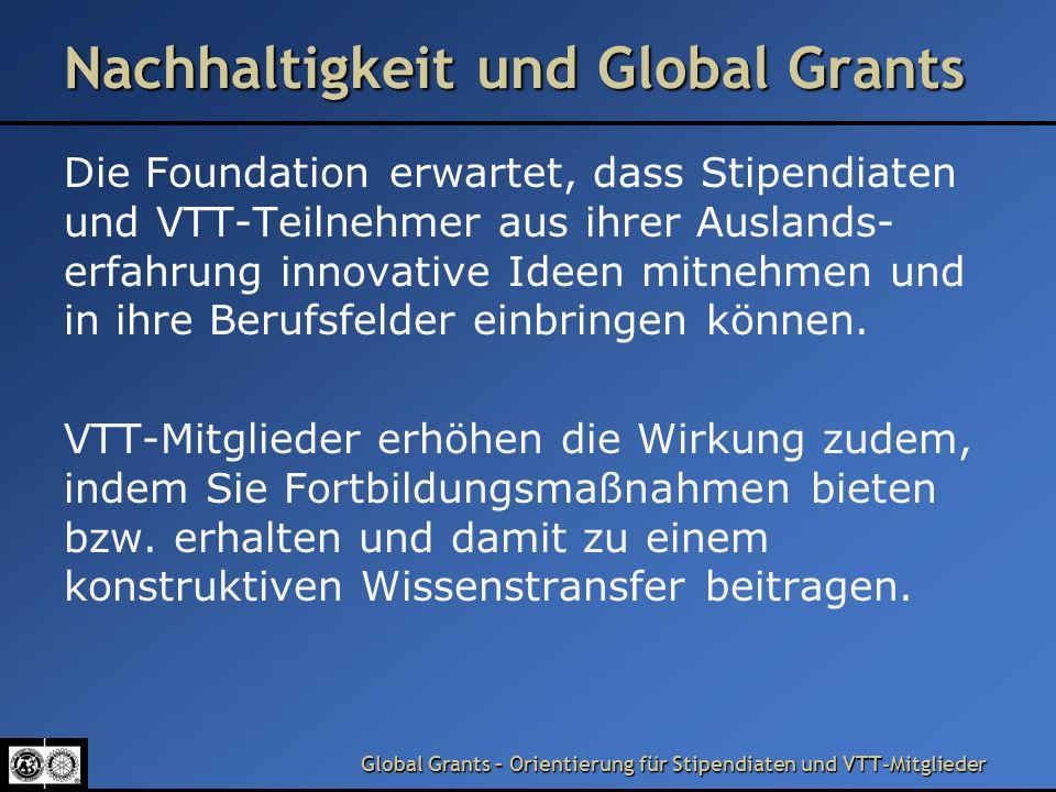 Nachhaltigkeit und Global Grants