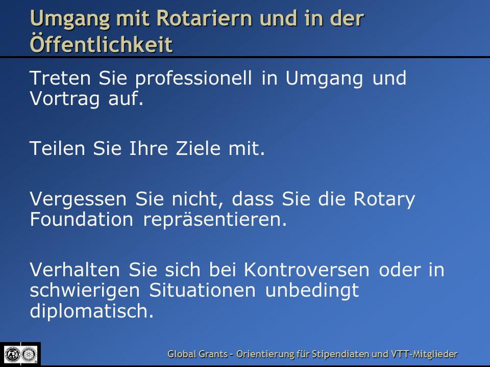 Umgang mit Rotariern und in der Öffentlichkeit