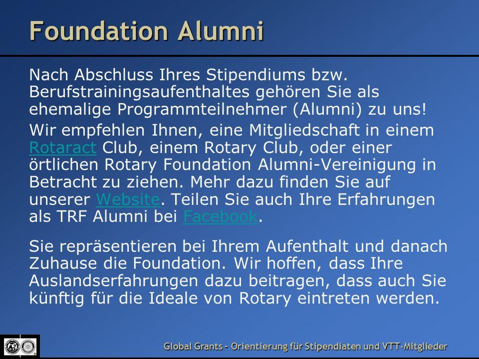 Foundation Alumni Nach Abschluss Ihres Stipendiums bzw. Berufstrainingsaufenthaltes gehören Sie als ehemalige Programmteilnehmer (Alumni) zu uns!