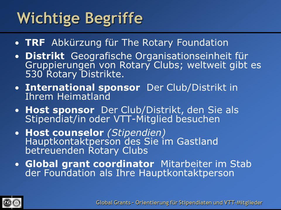 Wichtige Begriffe TRF Abkürzung für The Rotary Foundation