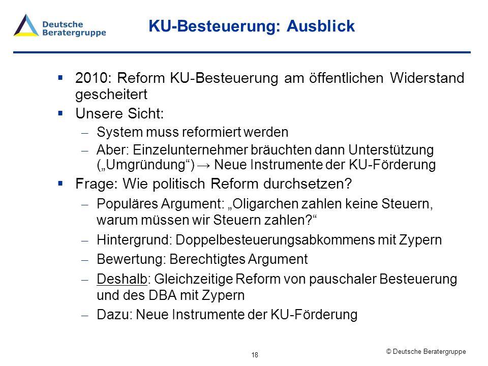 KU-Besteuerung: Ausblick