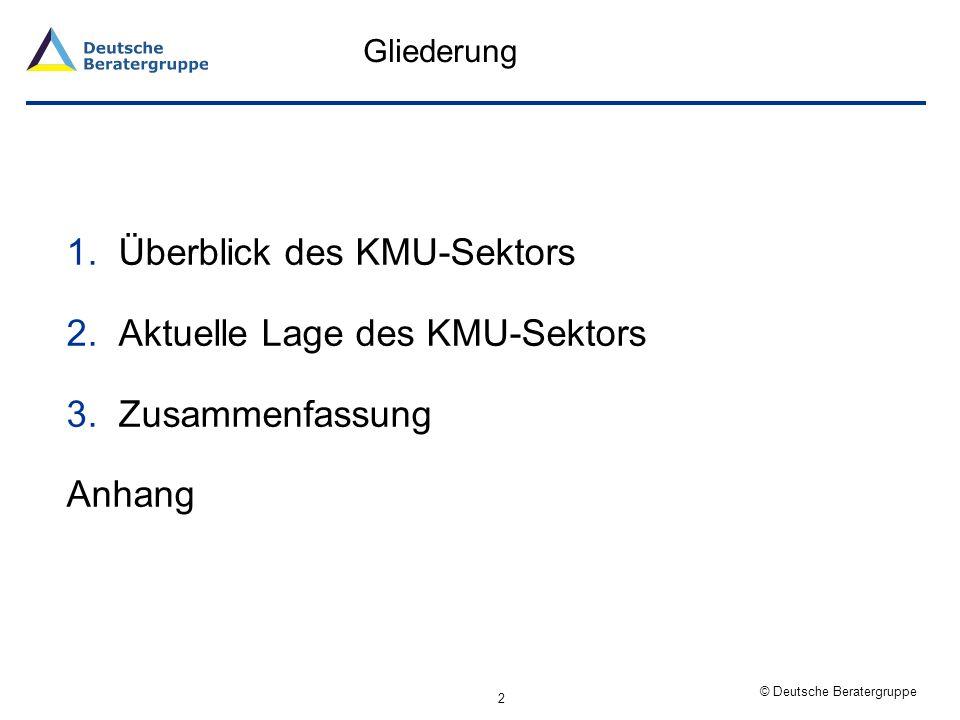 Überblick des KMU-Sektors Aktuelle Lage des KMU-Sektors
