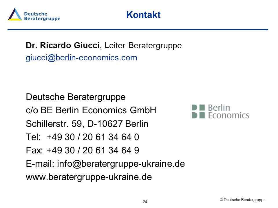 Deutsche Beratergruppe c/o BE Berlin Economics GmbH