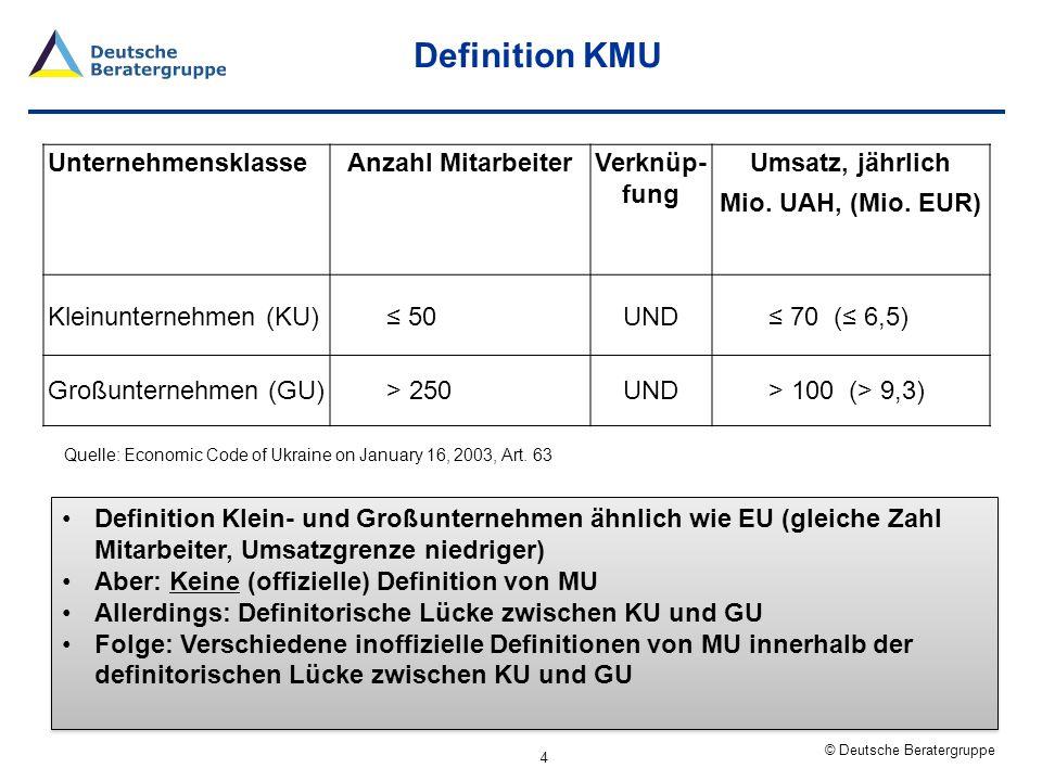 Definition KMU Unternehmensklasse Anzahl Mitarbeiter Verknüp- fung