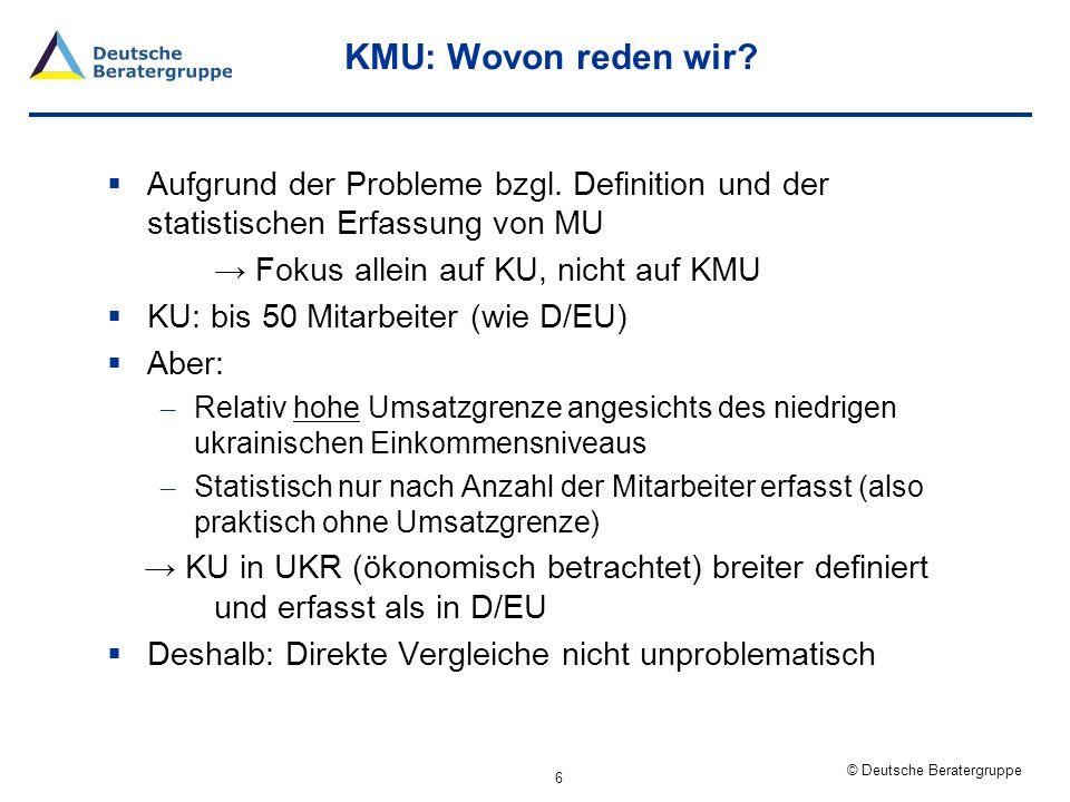 KMU: Wovon reden wir Aufgrund der Probleme bzgl. Definition und der statistischen Erfassung von MU.