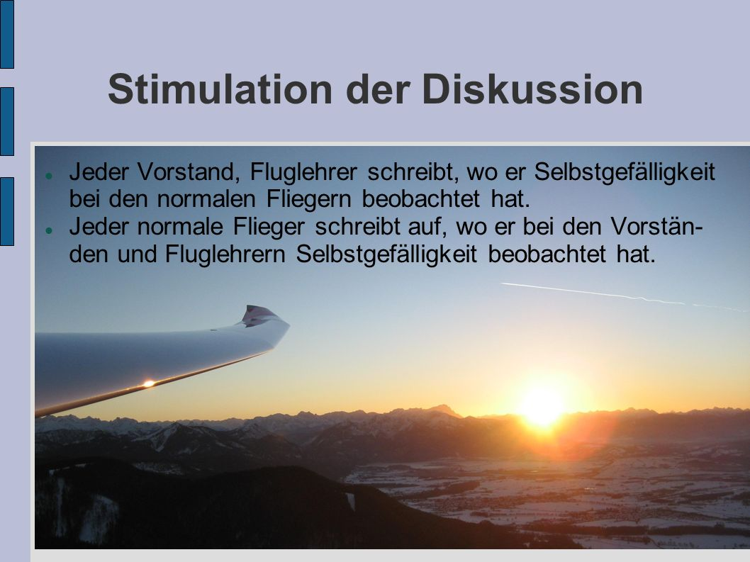 Stimulation der Diskussion