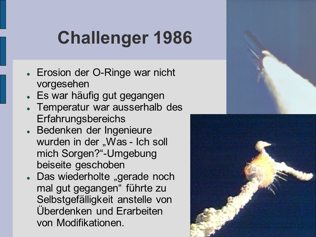 Challenger 1986 Erosion der O-Ringe war nicht vorgesehen