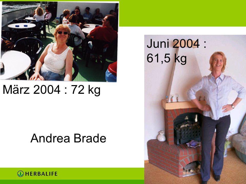 Juni 2004 : 61,5 kg März 2004 : 72 kg Andrea Brade