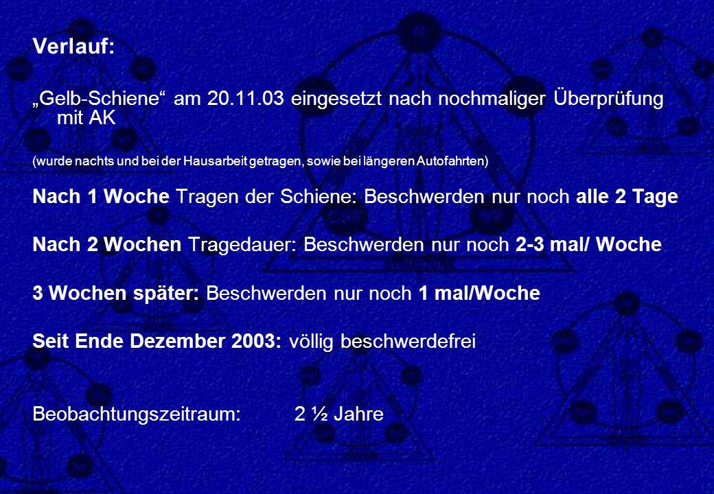 """Verlauf: """"Gelb-Schiene am 20.11.03 eingesetzt nach nochmaliger Überprüfung mit AK."""