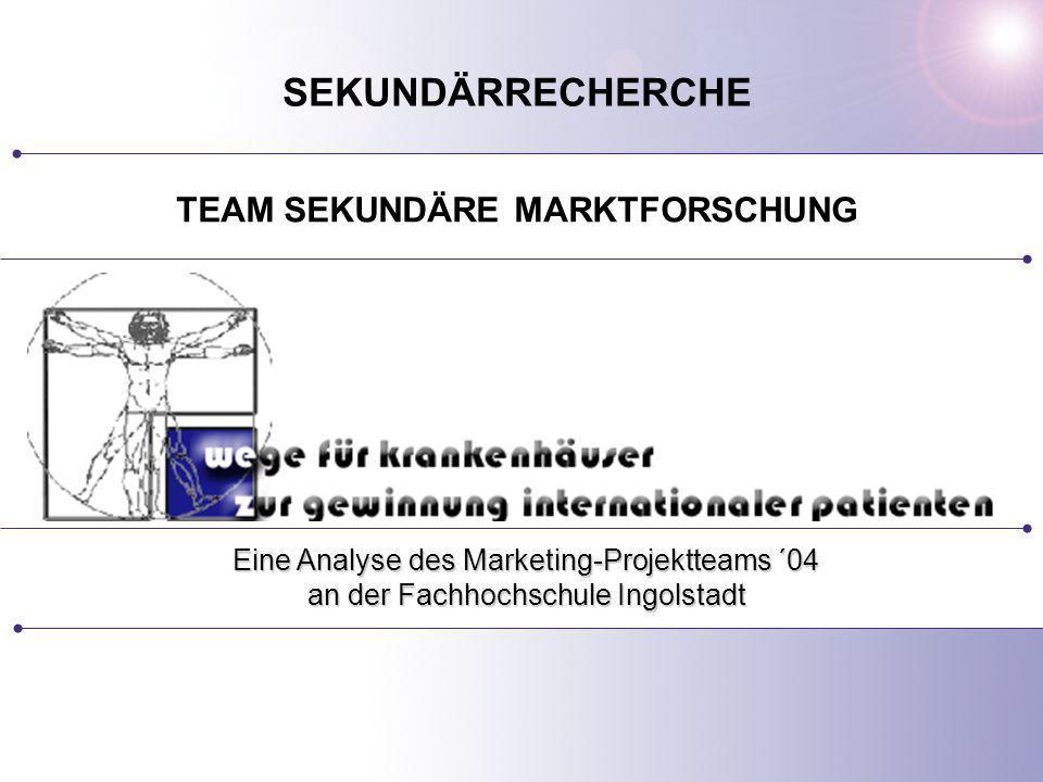TEAM SEKUNDÄRE MARKTFORSCHUNG