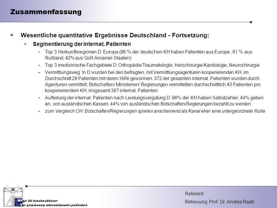 Zusammenfassung Wesentliche quantitative Ergebnisse Deutschland - Fortsetzung: Segmentierung der internat. Patienten.