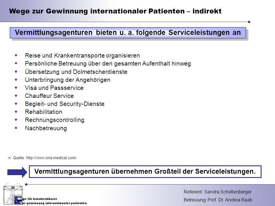 Vermittlungsagenturen bieten u. a. folgende Serviceleistungen an