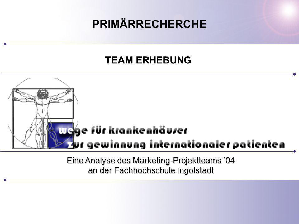 PRIMÄRRECHERCHE TEAM ERHEBUNG