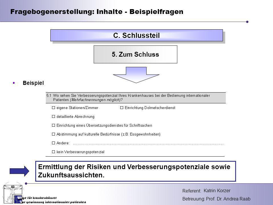 Fragebogenerstellung: Inhalte - Beispielfragen