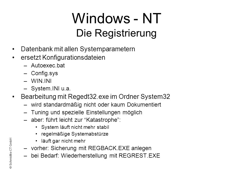 Windows - NT Die Registrierung