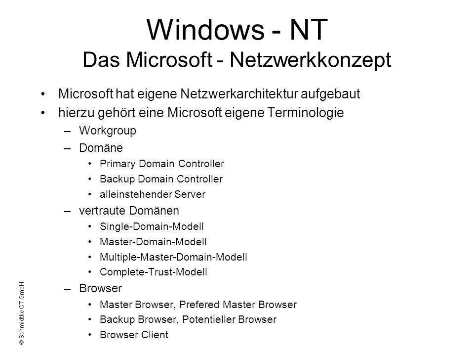 Windows - NT Das Microsoft - Netzwerkkonzept