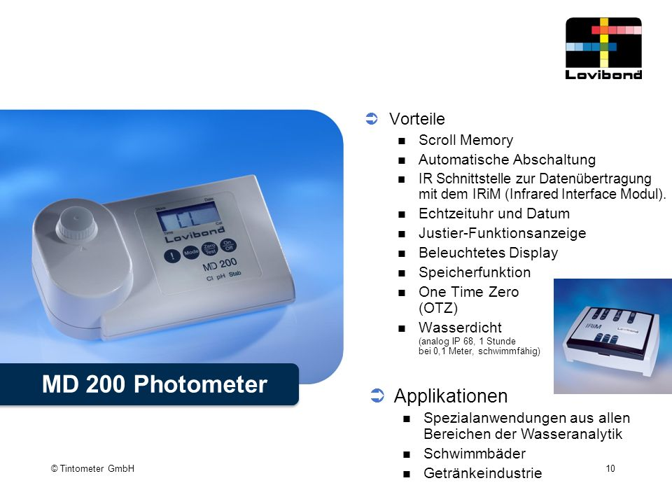 MD 200 Photometer Applikationen Vorteile Scroll Memory