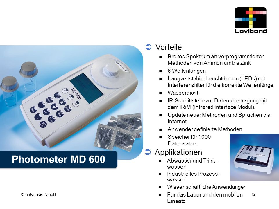 Photometer MD 600 Vorteile Applikationen