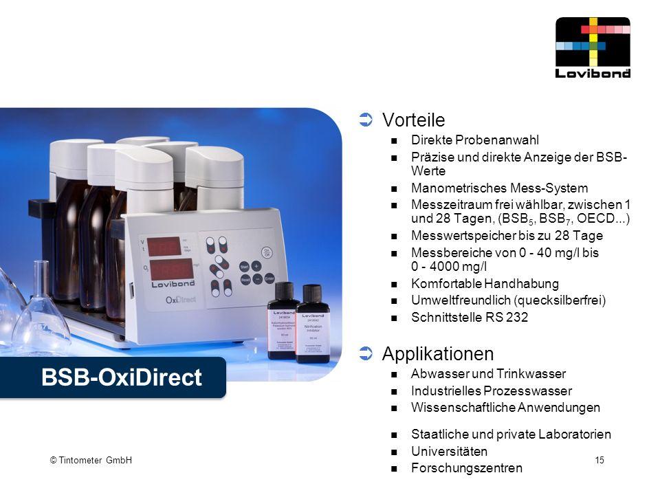 BSB-OxiDirect Vorteile Applikationen Direkte Probenanwahl