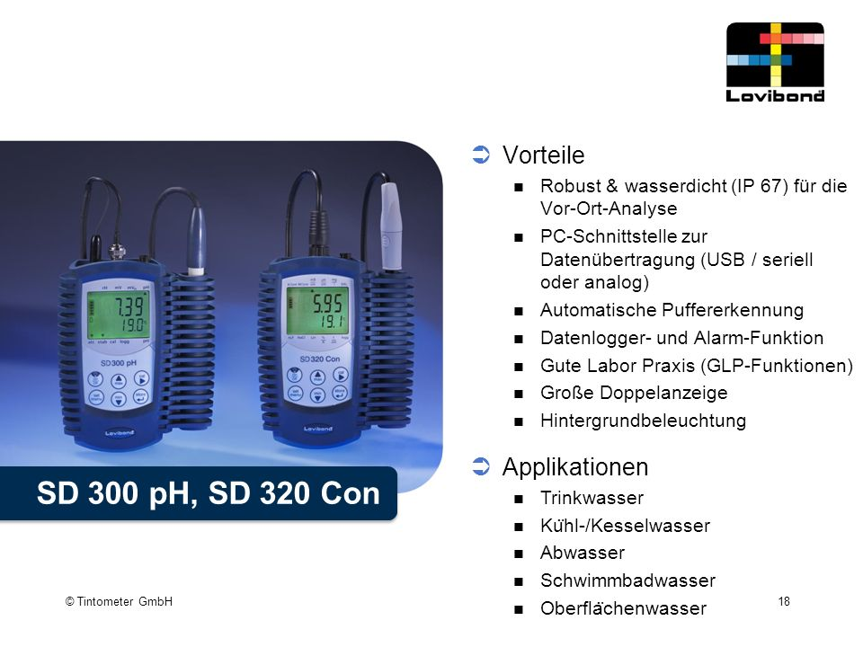 SD 300 pH, SD 320 Con Vorteile Applikationen