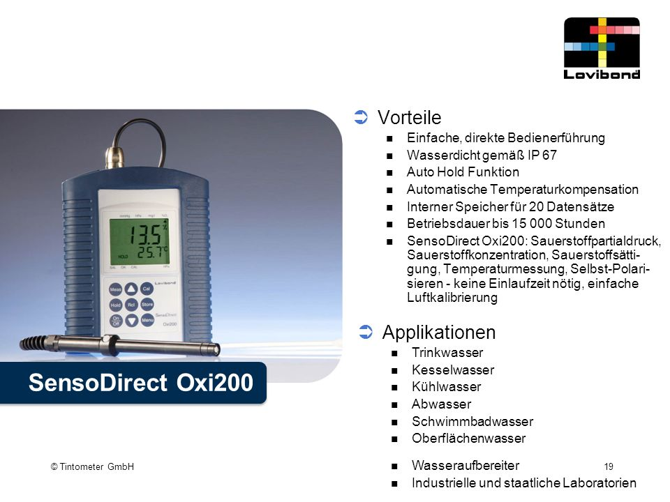 SensoDirect Oxi200 Vorteile Applikationen