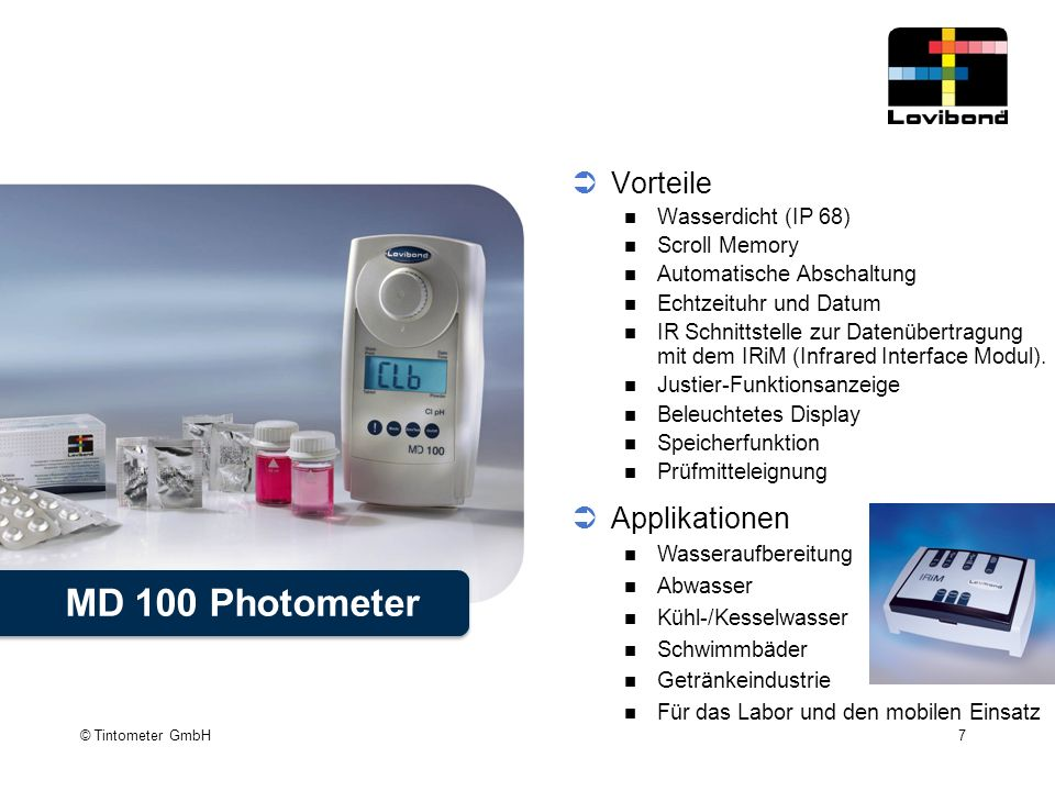 MD 100 Photometer Vorteile Applikationen Wasserdicht (IP 68)