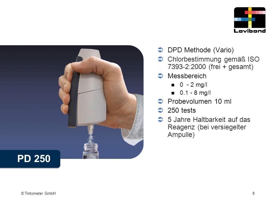 DPD Methode (Vario) Chlorbestimmung gemäß ISO 7393-2:2000 (frei + gesamt) Messbereich. 0 - 2 mg/l.