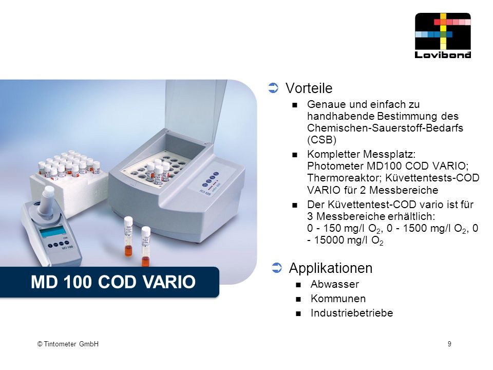MD 100 COD VARIO Vorteile Applikationen