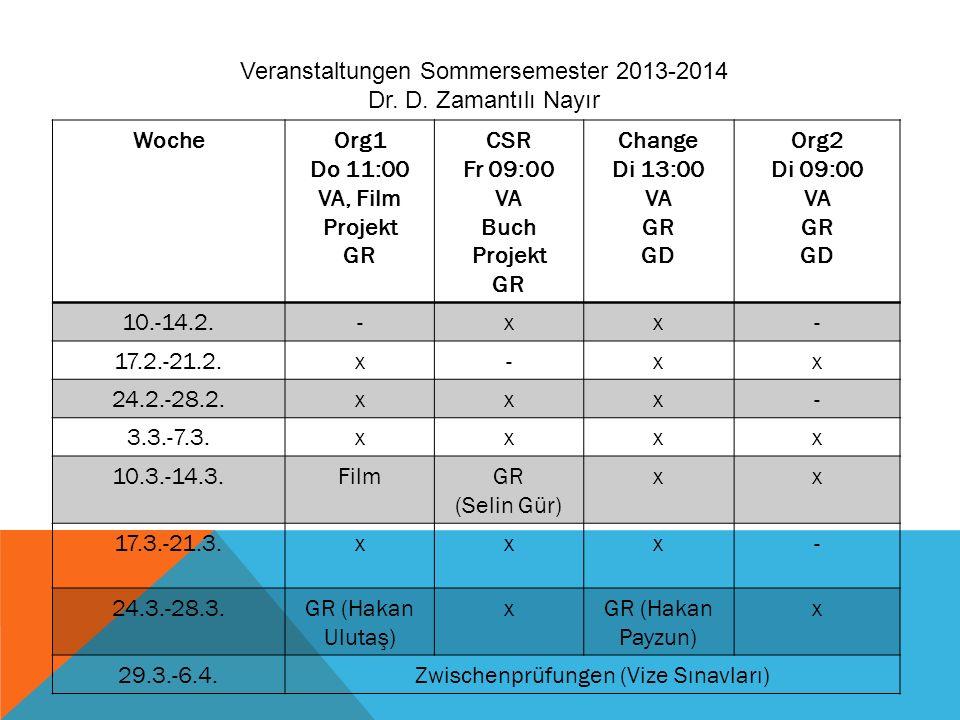 Veranstaltungen Sommersemester 2013-2014 Dr. D. Zamantılı Nayır Woche