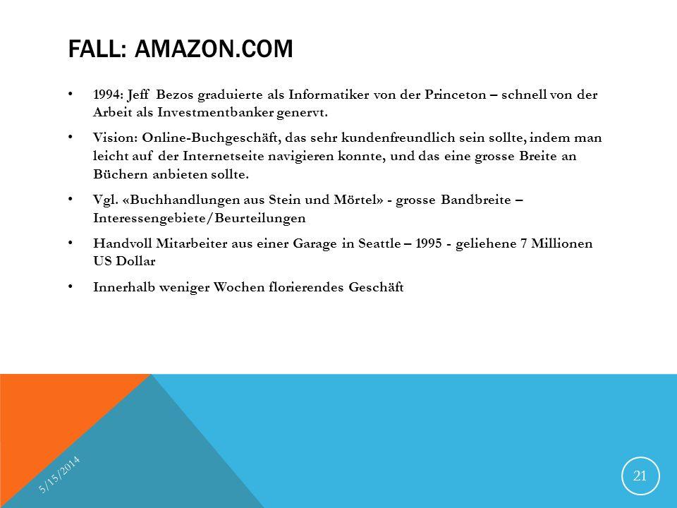 FALL: AMAZON.COM 1994: Jeff Bezos graduierte als Informatiker von der Princeton – schnell von der Arbeit als Investmentbanker genervt.