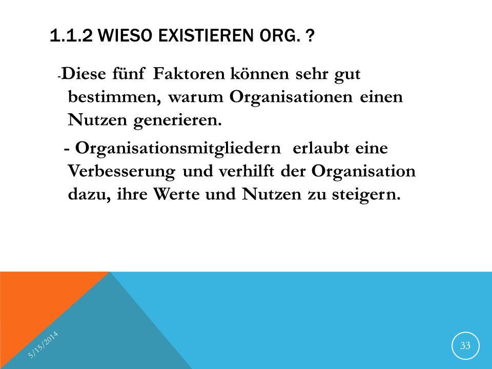 1.1.2 Wieso existieren Org. -Diese fünf Faktoren können sehr gut bestimmen, warum Organisationen einen Nutzen generieren.