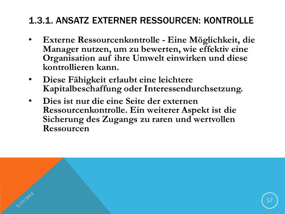 1.3.1. Ansatz externer Ressourcen: Kontrolle