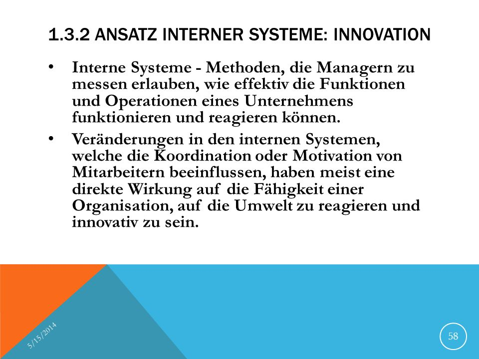 1.3.2 Ansatz interner Systeme: Innovation