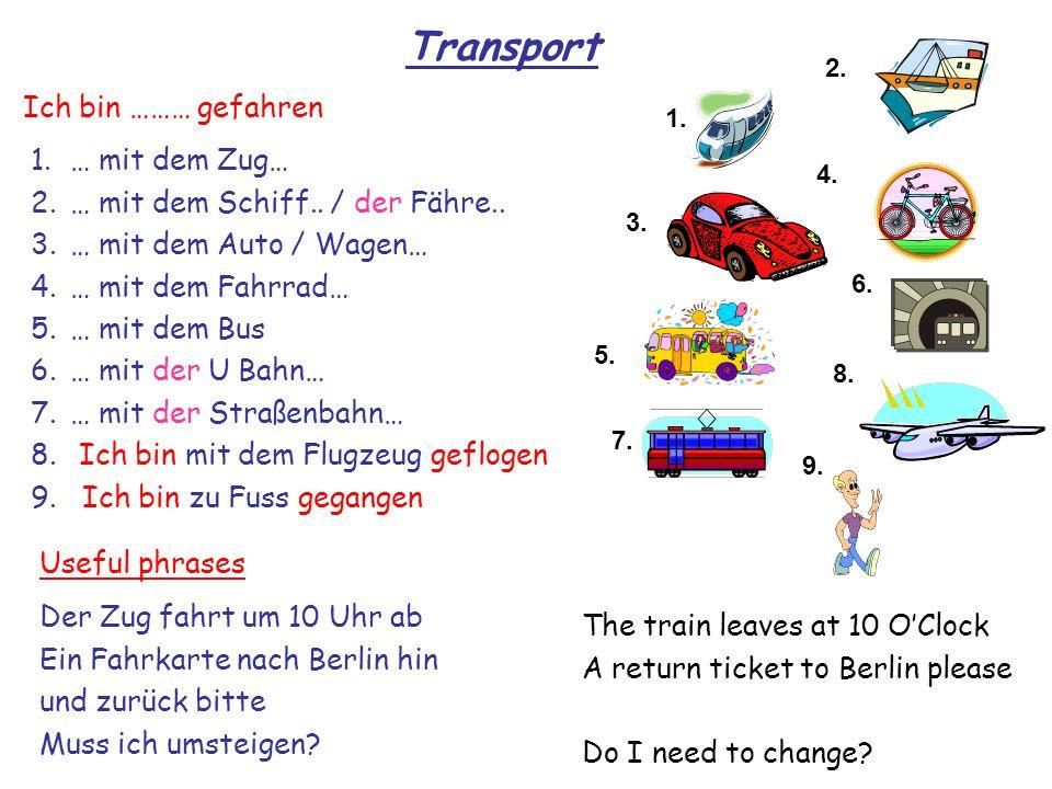 Transport Ich bin ……… gefahren … mit dem Zug…