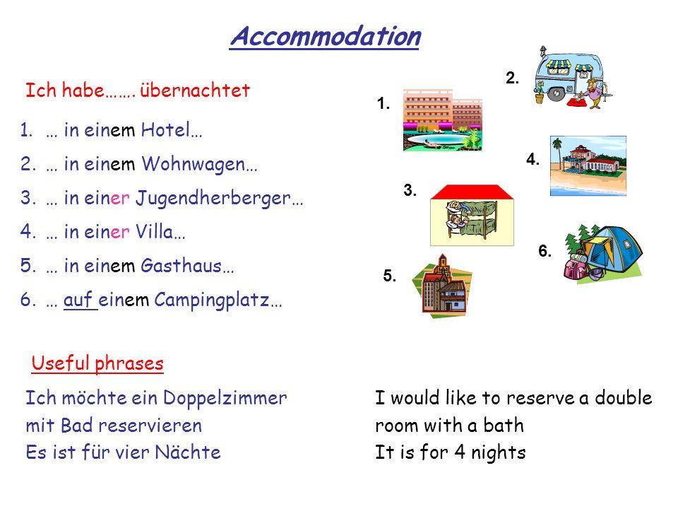 Accommodation Ich habe……. übernachtet … in einem Hotel…