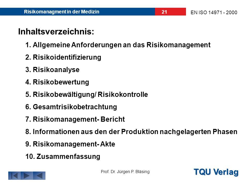 30.03.2017 Risikomanagment in der Medizin. Inhaltsverzeichnis: 1. Allgemeine Anforderungen an das Risikomanagement.
