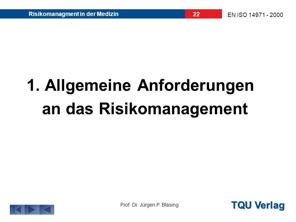1. Allgemeine Anforderungen an das Risikomanagement