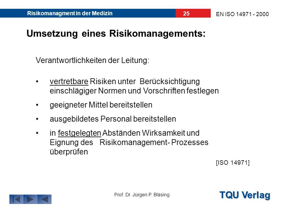 Umsetzung eines Risikomanagements: