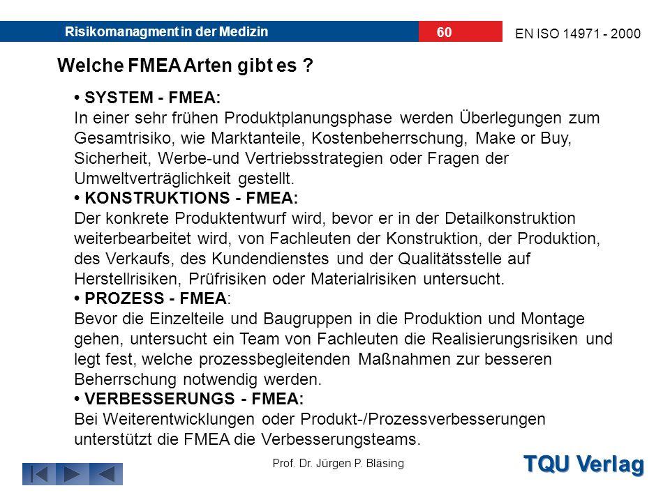 Welche FMEA Arten gibt es