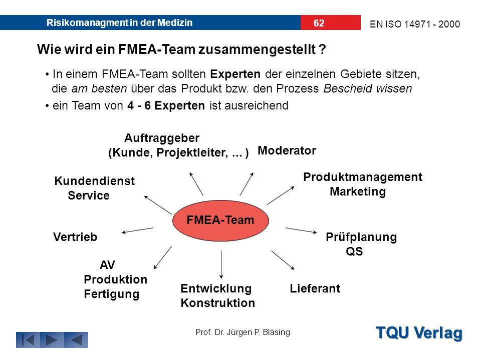 Wie wird ein FMEA-Team zusammengestellt