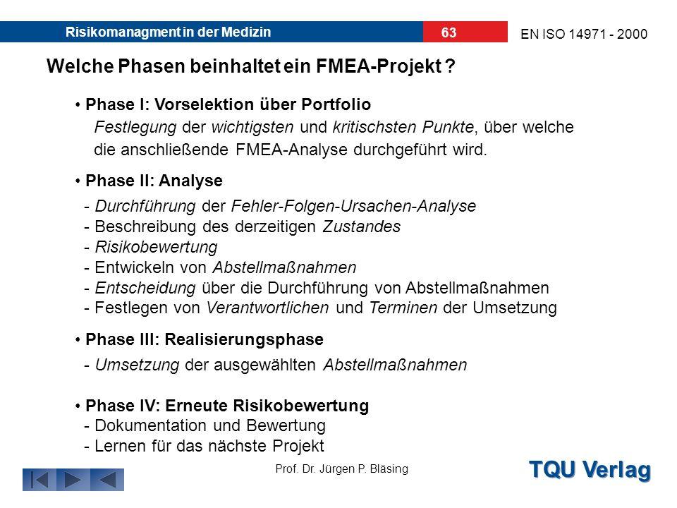 Welche Phasen beinhaltet ein FMEA-Projekt